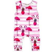 gevşek pijama toptan satış-Çocuklar Tulum Kız Bebek Giysileri Baskı Şerit Pijama Flamingo Büyük Turp Kolsuz Onesies Rahat Gevşek Basit Tulum 28