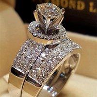 anéis de pedras preciosas de 14k venda por atacado-Princesa Anel De Diamante Casamento Set 14 k Ouro Rodada Bague Diamante Anel Esmeralda Peridot Bizuteria Para Amantes 'Gemstone Jóias Anéis Y19052301