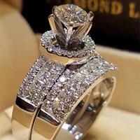smaragd ringt diamanten großhandel-Prinzessin Hochzeit Diamant Ring Set 14 Karat Gold Runde Bague Diamant Smaragd Ring Peridot Bizuteria für Liebhaber Edelstein Schmuck Ringe Y19052301