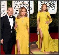 ingrosso abiti da damigella d'oro giallo-Nuovo 73 ° Golden Globe Awards Abiti celebrità Giallo Sirena Spacco laterale Abiti da sera Scollo a collo alto Vestito da ballo formale con fiocco rosso
