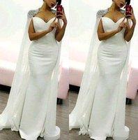 melhores vestidos de baile branco venda por atacado-2019 Árabe Vestidos de Noite Branco Longo Vestidos de Baile com Watteau Beading Ombro Bainha Pageant Melhor Vestido de Noite Formal para SpecialOccasion