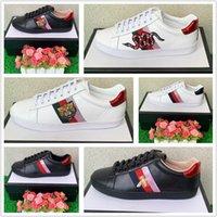 sapatos de esporte de couro branco venda por atacado-sapatos de grife ECA desenhador de couro de marcas de luxo bordados tigre branco sapatos abelha cobra homens e mulheres calçado desportivo tênis casuais 35-47