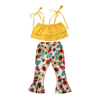 Wholesale kids legging cute resale online - Kids Baby Girl Summer Sleeveless Cotton Clothes Set Pure Color Sling Tops Sunflower Wide Leg Pants Casual Outfits