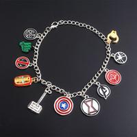 demir takılar toptan satış-Marvel Avengers Demir Adam Thor Kaptan Amerika Bilezikler Süper Kahraman Erkekler Kadınlar için Charm Bileklik Film Jewerly Hediye Toptan DHL