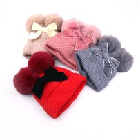 Wholesale hand knitted baby beanie hats for sale - Group buy Winter kids designer hats fur bows baby beanies Warmth kids hats kids beanies girls hats princess girls caps Hand Knitted Caps y