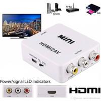 câble ntsc achat en gros de-HDMI à RCA AV convertisseur de composants CVBS Scaler 1080P adaptateur boîte de câble pour Monito L / R vidéo HDMI2AV HD soutien NTSC PAL