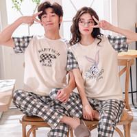 homens pijamas curtos venda por atacado-Conjuntos de Pijama de Algodão de verão Casais de Manga Curta Masculino Sleepwear Em Torno Do Pescoço Mulheres Pijama Pijama Pijama Pijamas Masculinos Homewear
