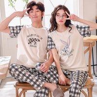 pyjama-sets für paare großhandel-Sommer Baumwolle Pyjama Sets Paare Kurzarm Männlichen Nachtwäsche Rundhals Frauen Pyjamas Pijama Pyjamas Herren Pyjamas Homewear