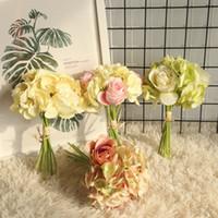 ramo de rosas falsas al por mayor-Hydrangea Rose Bunch Artifiical Hydrangea Rose Leaf DIY Flor de la pared Decoración del banquete de boda en casa Novia Manojo de seda Flor Fake