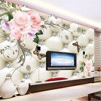ingrosso carta da parati in pelle di soggiorno-Ordinazione murale 3D Wallpaper fiore della Rosa di stile europeo pattern di diamanti pittura murale carta da parati Sfondo pelle TV Living Room