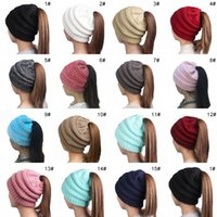 2018 ragazze delle ragazze di inverno cappello ragazza delle signore stretch  cappello a maglia morbida messy bun cappelli caldi caps bonnet femme hiver d25dd9bc2b49