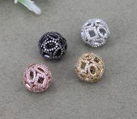 ingrosso perline di rame 14mm-10 pz 14mm Metallo Rame Pavimenta CZ Perle di Forma Rotonda, perline di Connettore Cubic Zirconia Per Monili Che Fanno