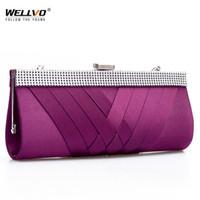 sacs à main violet achat en gros de-Femmes Journée Embrayage Mesdames Purse Chaîne Sacs À Main Femmes Soirée Sac Pourpre Mariée De Noce Sacs À Main Embrayages Bolsas Mujer XA187C