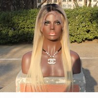 Wholesale beyonce lace wigs hairstyles resale online - Ombre Full Lace Wigs Dark root Human Remy Hair Lace Front Wig Density Glueless Brazilian Virgin Beyonce Hairstyle Wigs on Sale