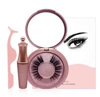 haciendo imán al por mayor-Magnetic Liquid Eyeliner Five Magnetic False Eyelashes Tweezer Set Magnet False Eyelashes Set Herramientas de maquillaje sin pegamento Envío de la gota
