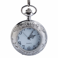Wholesale 15 inch silver chain for sale - Group buy CKKU Jewelry Embossed Floral Edge Quartz Pocket Watch Silver Case with Inch Chain for Men Boys Gift LPW117