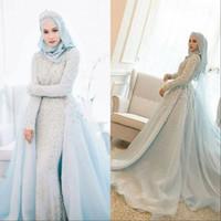 Wholesale lace wedding dresses for sale - 2019 Vintage Mermaid Lace Wedding Dresses Detachable Train Sheer Neck Long Sleeves Beaded Overskirt Dubai Arabic Bridal Gowns