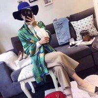 peacock xales seda venda por atacado-Mulheres Designer De Cachecol De Seda Verde 2019 Primavera Luxuoso Cachecol Pena de Pavão impresso Lenços Longo Xale Feminino Foulard 180x90 cm NOVO