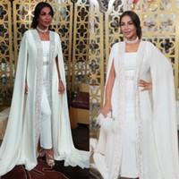 Wholesale floor length capes resale online - Dubai Muslim Evening Dresses White Sequins moroccan Kaftan Chiffon Cape Prom Special Occasion Gowns Arabic Long Sleeve Dress Evening Wear