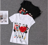 corações de strass venda por atacado-Atacado-mulheres tops apliques coração vermelho camiseta mulheres feminino manga curta impressão poleras de mujer camisas femininas 2016 strass tops