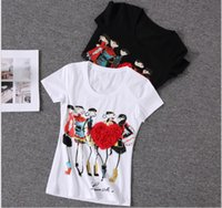 yapay elmas gömlek toptan satış-Toptan Satış - Aplikler Kırmızı Kalp tişörtlü kadın Kadın Kısa Kollu Baskı poleras de mujer camisas femininas 2016 Rhinestone Tops
