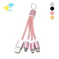 keychain mikrokabel großhandel-3 in 1 keychain beweglicher Mikro-USB-Typ C kabelt multi Aufladeeinheitskabel für huawei Samsung xiaomi ipx / 8/7