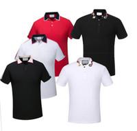 markalı polo gömlekler toptan satış-19ss İtalya marka poloshirt Lüks tasarımcı casual erkekler polo gömlek yılan arı çiçek nakış erkek polos Yüksek sokak moda polo tops