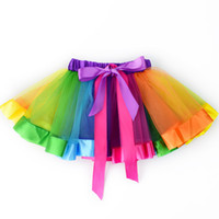 tul arcoiris al por mayor-Niñas Niños Rainbow Party Ballet Dance Tutu Falda Vestido de tul Pettiskirt Tutu Dance Wear Faldas Ballet Pettiskirts Dance Falda