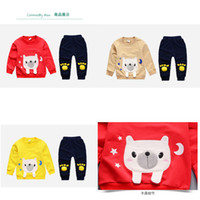 Wholesale boy dog collars resale online - 2019 America and Europe pop Spring style cotton round collar dog pattern suit with long sleeve jacket and trousers for boys and girls