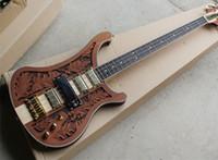 gitarrenperle einlage großhandel-Free ShippingRed Brown E-Bass mit 4 Saiten und Gold Hardware, Lässt die dreidimensionale Skulptur, White Pearl Stars Inlay