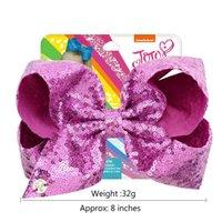 saç dökülmesi saç dökülmesi toptan satış-8 inç Jojo Glitter Mermaid Çevirme Pullu Büyük Yay Firkete Bebek Kız Degrade Renk Tokalarım Çocuk Bling Saç Klip Saç Aksesuarları A21503