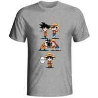einteiliges t-shirt luffy großhandel-Super Saiyajin Goku Vs One Piece Ruffy T-Shirt Anime Original Design Lustige T-shirt Crossover Design Männer Frauen Grau Baumwolle T SH190715