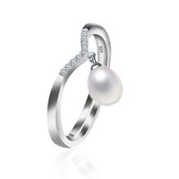 anillo de perlas de agua dulce esterlina al por mayor-925 plata esterlina perlas de agua dulce naturales de moda anillos de amor joyería para mujeres 8-9 mm forma de gota perla 4 color