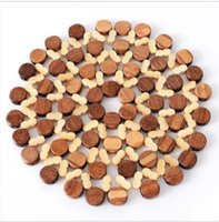 Insulation pad bamboo placemat Thicken round hollow table mat Kitchen cutlery pot anti-scalding bowl pad B637