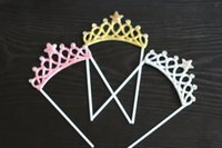 décorations de petit gâteau rose achat en gros de-1pcs or argent rose prince princesse couronne bébé douche décorations de gâteaux de gâteau