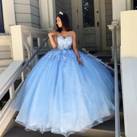 Wholesale bone hands for sale - Group buy Sky Blue Simple Sexy Lace Quinceanera Prom Dresses Sweetheart Beaded Hand Made Flowers Tulle Evening Party Sweet Dress ZJ306