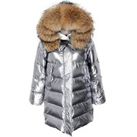 a1a70e144 Wholesale silver fox fur jacket online - New arrival Shiny Iron silver Long  Jacket for Ladies