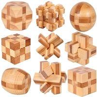 ahşap oyuncaklar toptan satış-9 adet / grup 3D Çevre Dostu bambu ahşap oyuncaklar IQ beyin teaser burr yetişkin bulmaca eğitici çocuklar kilidini oyunları Kong Ming Suo