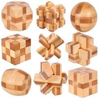 jouets éducatifs pour adultes achat en gros de-9pcs / lot 3D jouets en bois de bambou respectueux de l'environnement IQ brain teaser rosse adultes puzzle enfants éducatifs déverrouillage jeux Kong Ming Suo