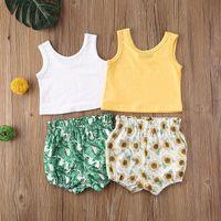 Wholesale baby clothes bananas resale online - Baby Girl Floral Clothing Set Infants Sleeveless Vest Banana Leaf Sunflower PP Shorts set Boutique Infant Outfits Kids Clothes M1986