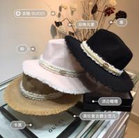 ingrosso grande secchio di fiori-Cappello da chiesa a forma di cappello pieghevole da donna con ampia visiera in Boemia a fiori. Grande visiera da spiaggia in paglia. Cappelli estivi per cappelli estivi