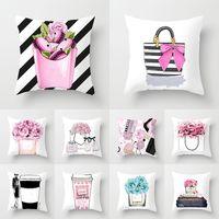 24 Designer Pillowcase Small Perfume Bottle Series Printing Pillowcase Fashion Home Hotel Car Seat Cushion Covers XD22868