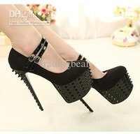 Wholesale platform strappy buckle stiletto shoes online - Sexy2019 Rivets Studded Spike Mary Jane Strappy High Heels Pumps Platform Heels Shoes