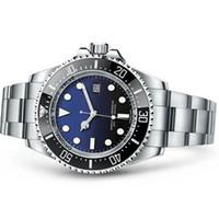 часы оптовых-Мужские часы Глубокий керамический ободок SEA-Dweller Sapphire Cystal Нержавеющая сталь с застежкой-скользкой Автоматические механические мужские часы