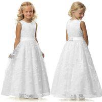 ingrosso vecchi abiti da sposa in pizzo-Flower Girl Dress Una linea Wedding Pageant Lace Prima Comunione Dress 2-12 anni