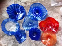 Wholesale art deco gallery for sale - Group buy Fashionable Hand Blown Chihuly Style Hanging Plates Borosilicate Glass Flower Wall Art For Museum Gallery Deco