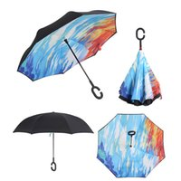 Wholesale lighting c stand for sale - Group buy Double Layer Windproof Inverted Umbrella C Shape Handle Rain Sun Protection Reverse Womens Umbrellas Self Stand Hands Free