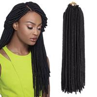 Wholesale grey braiding hair for sale - 20 inch roots Faux Locs Crochet Synthetic Hair Extensions Kanekalon Soft Dreadlock Crochet Braids Goddess Faux Locs Crochet Hair