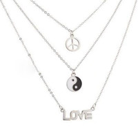 Wholesale friendship signs resale online - Fashion Trendy Jewelry LOVE Peace Sign Yin Yang Necklace Choker Multi Layer Necklace Pendant BFF For Women Layering Friendship Gifts NEW