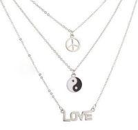 collar de gargantilla de yin yang al por mayor-Moda joyería de moda AMOR signo de la paz Yin Yang collar gargantilla collar de múltiples capas colgante BFF para las mujeres en capas de amistad regalos